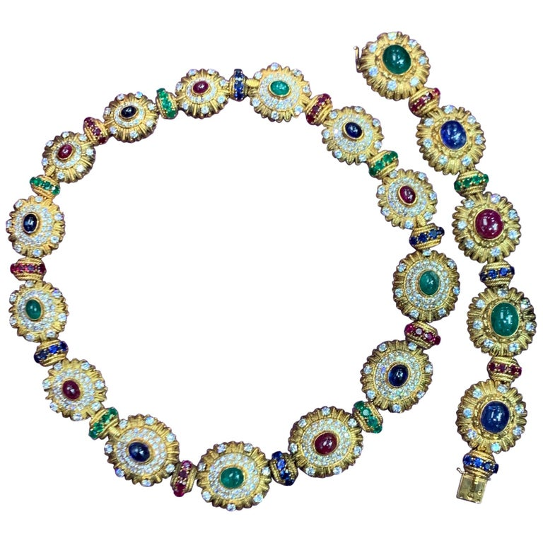 Royal Multi Gem Necklace and Bracelet Set Made by Van Cleef & Arpels For Sale
