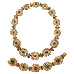 Royal Multi Gem Necklace and Bracelet Set Made by Van Cleef & Arpels