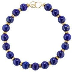 Royal Navy Blue Lapis Lazuli Bead Gold Necklace