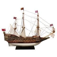 Royal Navy Sovereign of the Seas 1637, Grand Ship Model, Wood, Bronze