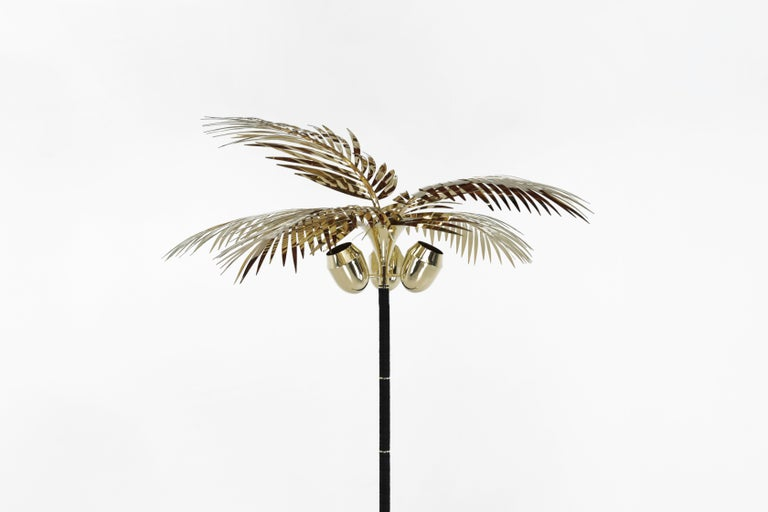 Hollywood Regency Royal Palm Tree Floor Lamp in brass and Leather by Christopher Kreiling Studio For Sale