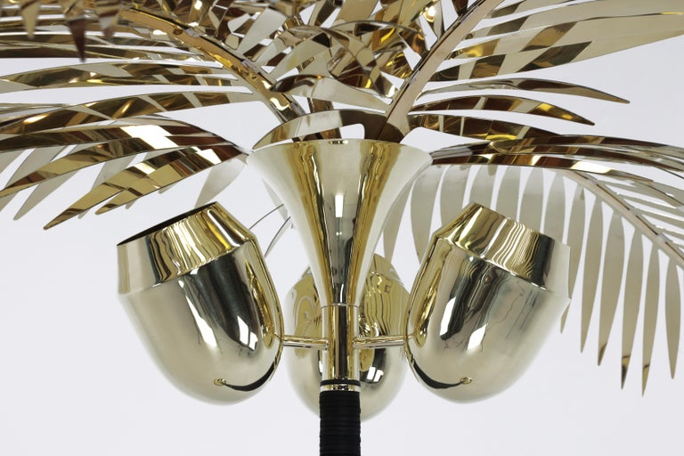 American Royal Palm Tree Floor Lamp in brass and Leather by Christopher Kreiling Studio For Sale