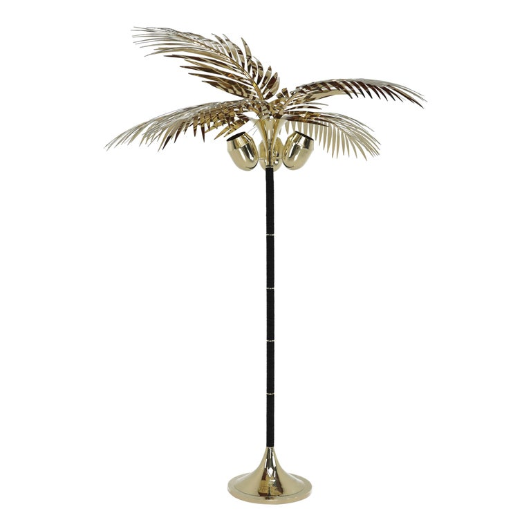 Royal Palm Tree Floor Lamp in brass and Leather by Christopher Kreiling Studio For Sale