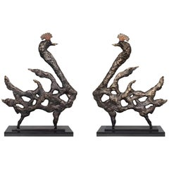 'Royal Peacocks' Bronze Sculptures Set