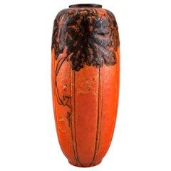 Royal Pilkington, England, Vase in Glazed Ceramics, Beautiful Orange Glaze