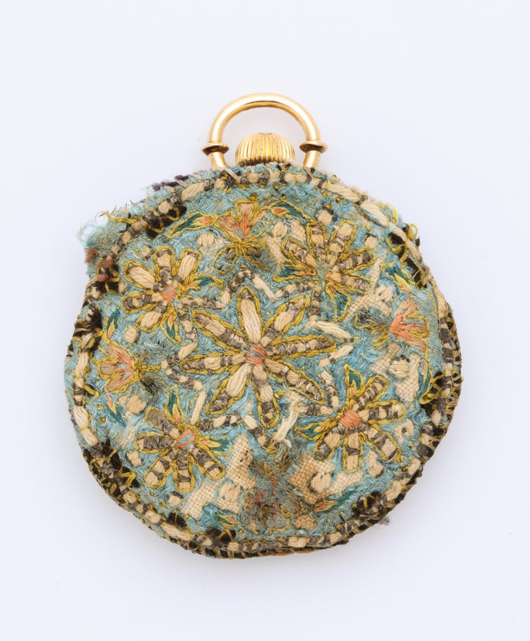 This highly important and rare gold pocket watch has a very finely enameled portrait of Prince Tahmasp Mirza of Qajar  (The grandson of Fath Ali Shah)  adorned with decorative floral designs.  (The grandson of Fath Ali Shah)    The watch is a