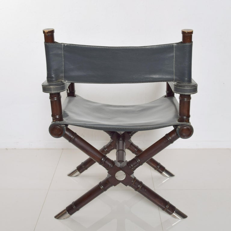 American Classical Ralph Lauren Leather Hollywood Director's Chair in Classic Royal Navy Blue For Sale