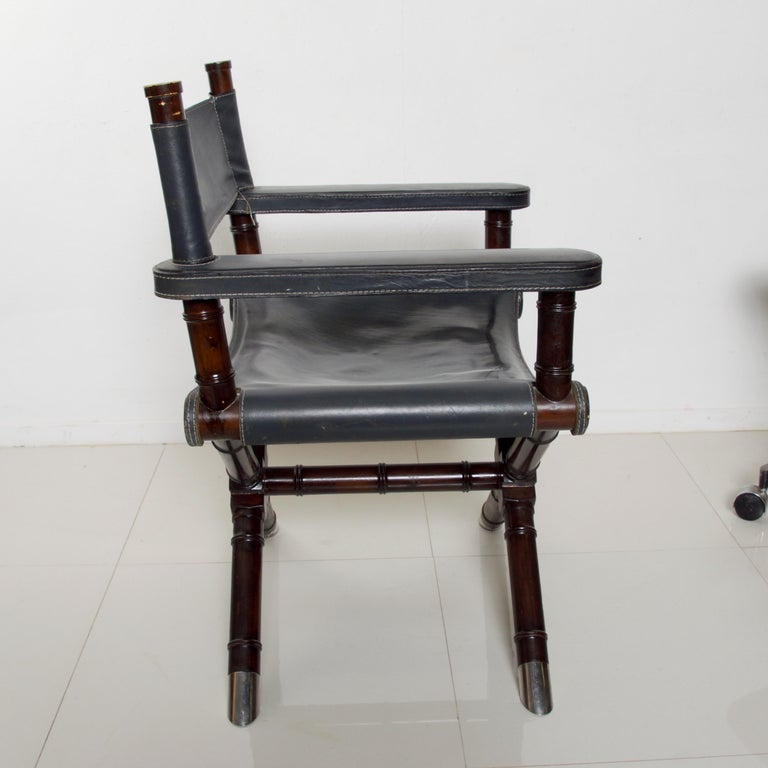 Late 20th Century Ralph Lauren Leather Hollywood Director's Chair in Classic Royal Navy Blue For Sale