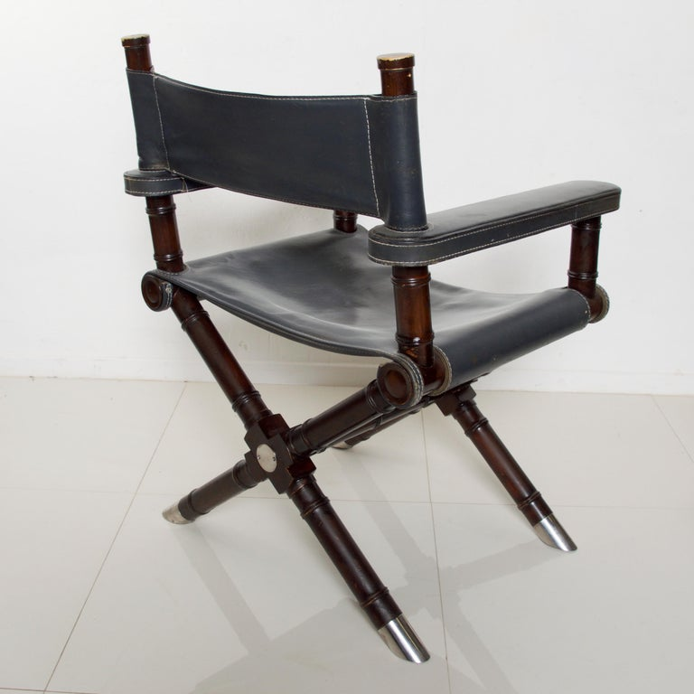 Ralph Lauren Leather Hollywood Director's Chair in Classic Royal Navy Blue For Sale 2