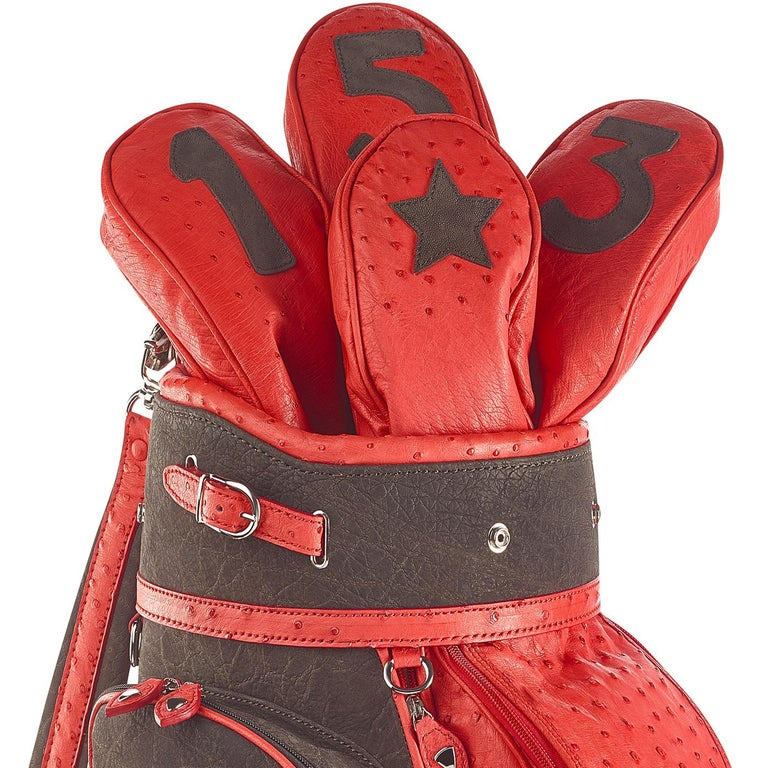 Part of the Royal collection of golf bags, this is an exclusive addition to a personal collection and can be also a thoughtful gift for a sport lover. Entirely handmade using high-quality ostrich leather and calfskin, this piece features a rich red