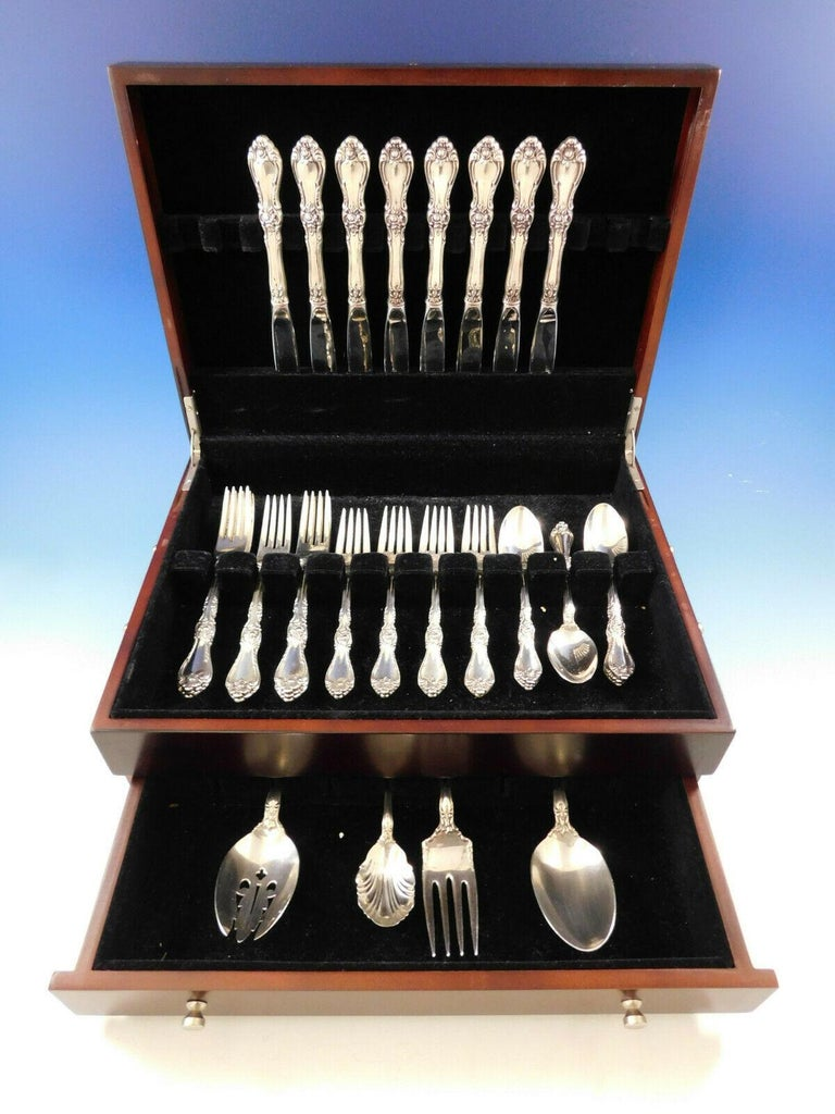 Heirloom quality Royal Rose by Wallace   Sterling silver flatware set, 36 pieces. This set includes:  8 knives, 9