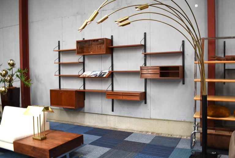 Scandinavian Modern Royal Series Wall Unit by Poul Cadovius in Teak, Denmark, 1950s For Sale