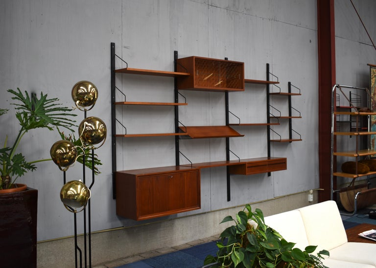 Scandinavian Modern Royal Series Wall Unit by Poul Cadovius in Teak, Denmark, 1950s For Sale