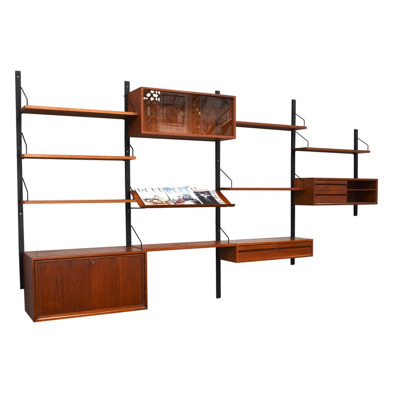 Royal Series Wall Unit by Poul Cadovius in Teak, Denmark, 1950s For Sale