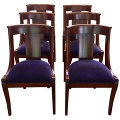 Wonderful Set of Ten Antique English Dining Chairs with Mohair Upholstery