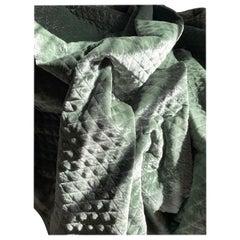 Royal Silk Velvet Silver-Sage Green Custom Matelassé, Italy