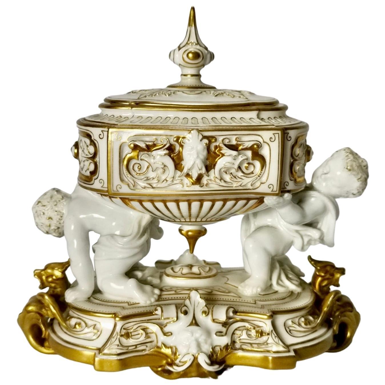 Royal Stamp Box, White Porcelain, Gilt, Cherubs, Royal Worcester, Edwardian 1902