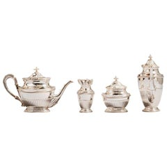 Royal Tea Set, Sterling Silver Oval Shape 4 Pieces Tea Set, Handmade in Italy