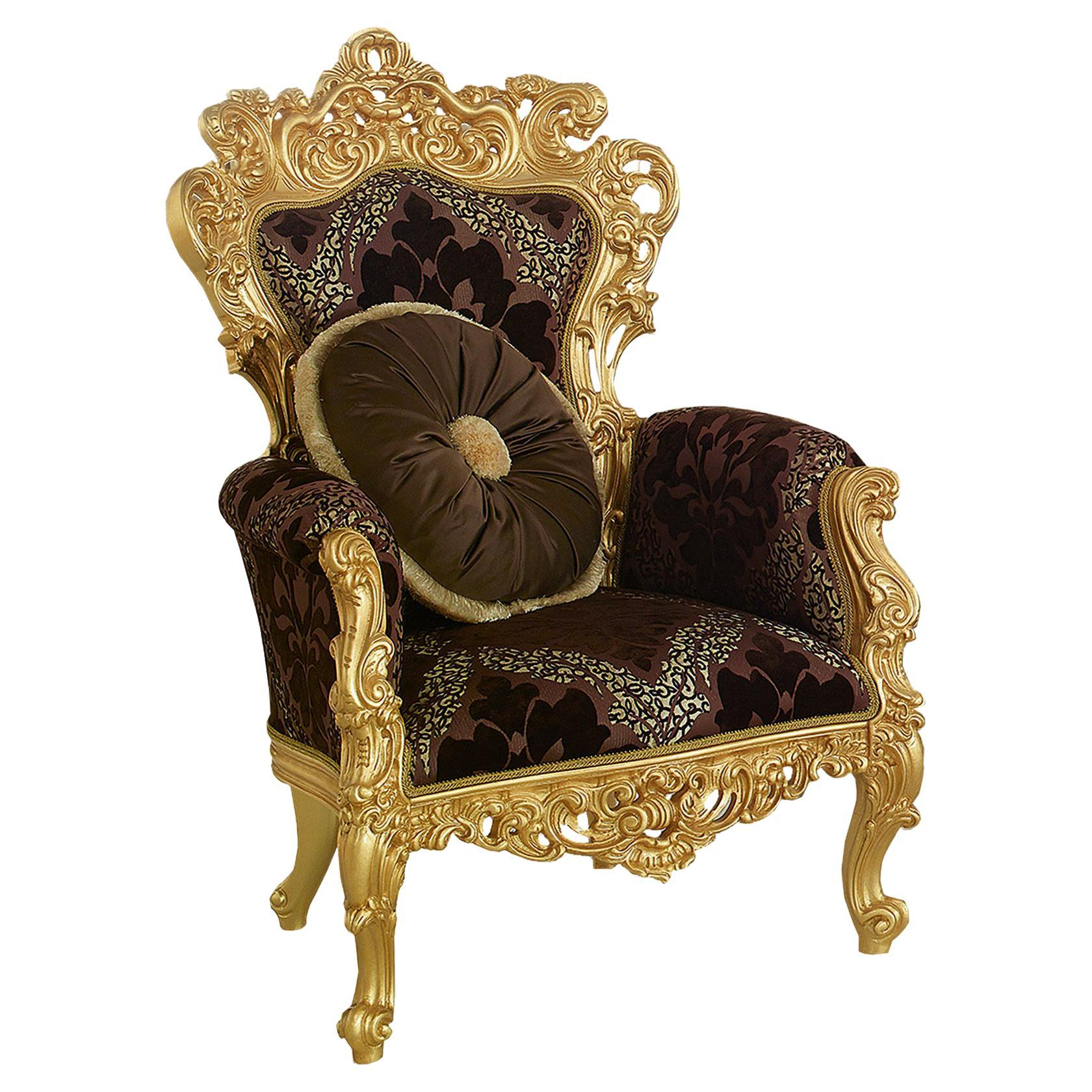 Royal Throne Armchair in Gold Leaf Finish and Premium Fabric