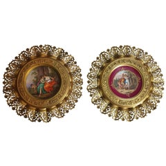 Royal Vienna Reticulated Royal Red Plates On Gilt Bronze Frames 19th Century