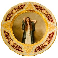 """""""Royal Vienna"""" Cabinet Plate of Bardot Signed Wagner, Lady with Long Red Hair"""