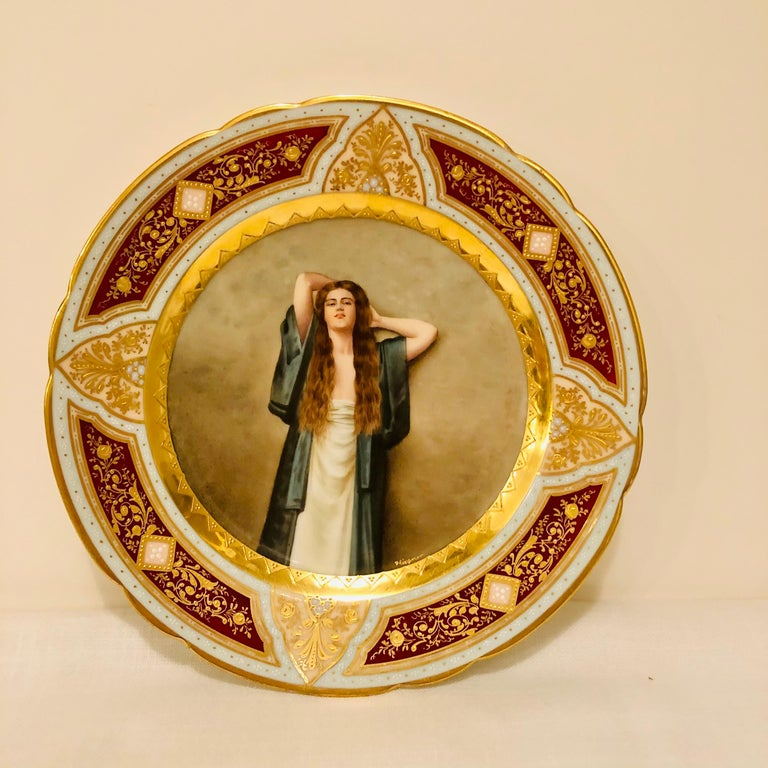 Royal Vienna Cabinet Plate of Bardot Signed Wagner with Lady with Long Red Hair For Sale 3