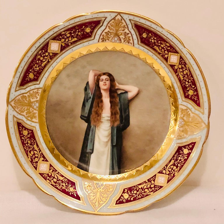Royal Vienna Cabinet Plate of Bardot Signed Wagner with Lady with Long Red Hair For Sale 4