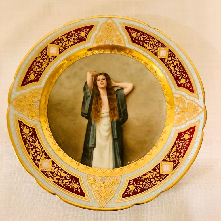 Royal Vienna Cabinet Plate of Bardot Signed Wagner with Lady with Long Red Hair For Sale 5