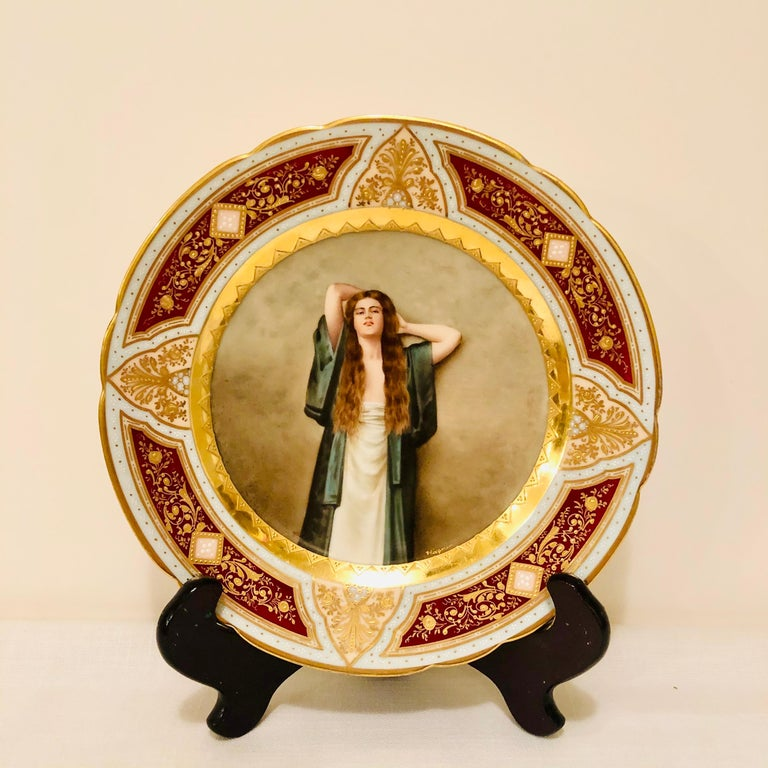 Royal Vienna Cabinet Plate of Bardot Signed Wagner with Lady with Long Red Hair For Sale 9
