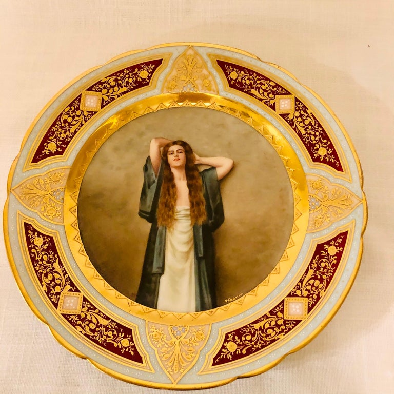 Royal Vienna Cabinet Plate of Bardot Signed Wagner with Lady with Long Red Hair For Sale 1
