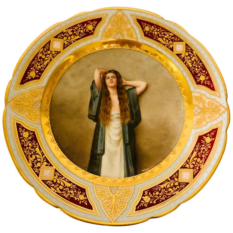 Royal Vienna Cabinet Plate of Bardot Signed Wagner with Lady with Long Red Hair For Sale