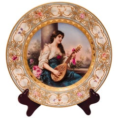 Royal Vienna Cabinet Plate of Lady Playing the Mandolin Signed Wagner