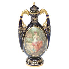 Royal Vienna Cobalt / Gold Porcelain Lidded Urn