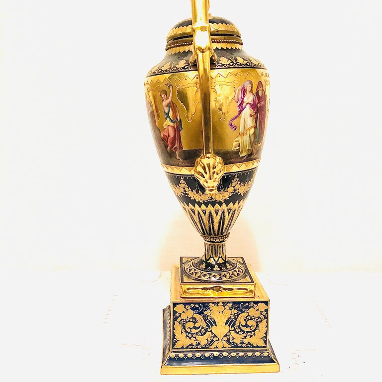 Royal Vienna Cobalt Urn with Museum Quality Paintings Artist Signed Wagner For Sale 4