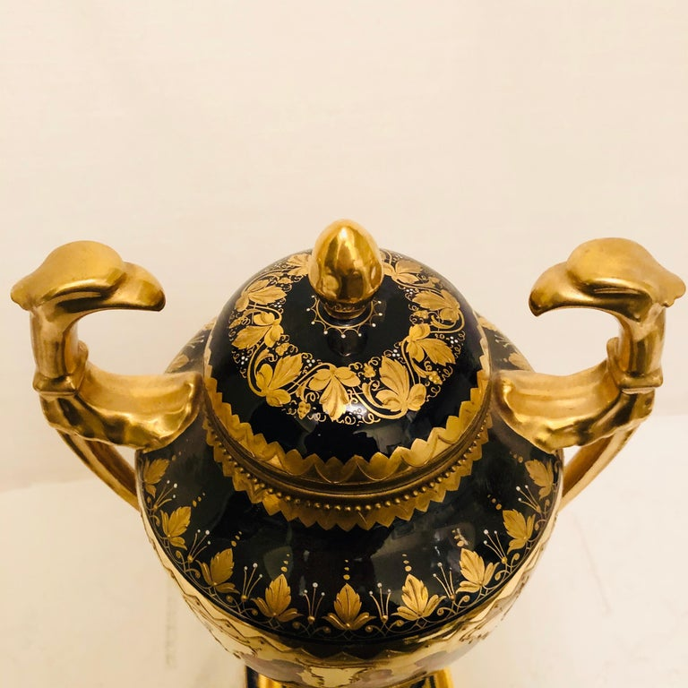 Royal Vienna Cobalt Urn with Museum Quality Paintings Artist Signed Wagner For Sale 6