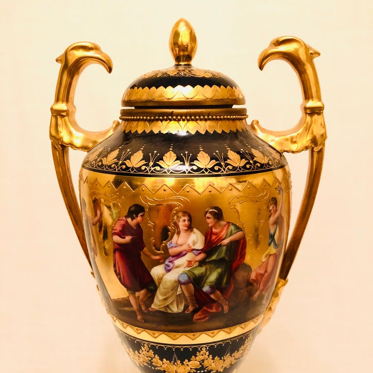 Royal Vienna Cobalt Urn with Museum Quality Paintings Artist Signed Wagner For Sale 7