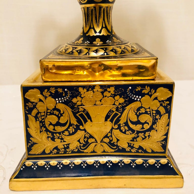 19th Century Royal Vienna Cobalt Urn with Museum Quality Paintings Artist Signed Wagner For Sale