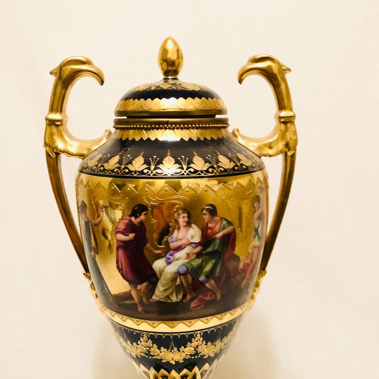 Porcelain Royal Vienna Cobalt Urn with Museum Quality Paintings Artist Signed Wagner For Sale