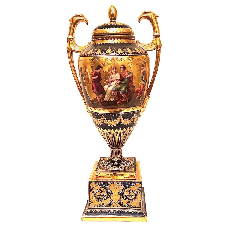 Royal Vienna Cobalt Urn with Museum Quality Paintings Artist Signed Wagner For Sale