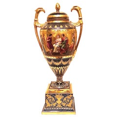 """""""Royal Vienna"""" Cobalt Urn with Museum Quality Paintings Artist Signed Wagner"""