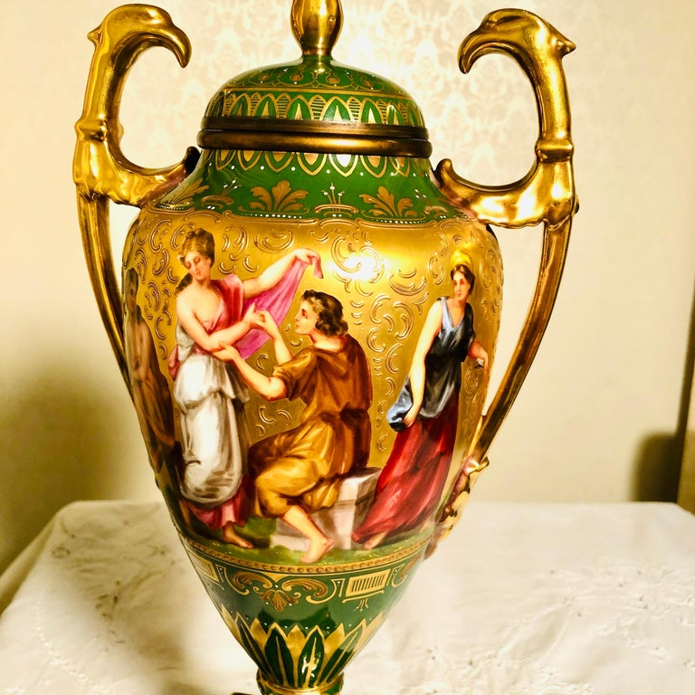 Royal Vienna Covered Urn Signed A. Heer with Exquisite Paintings on Both Sides For Sale 2
