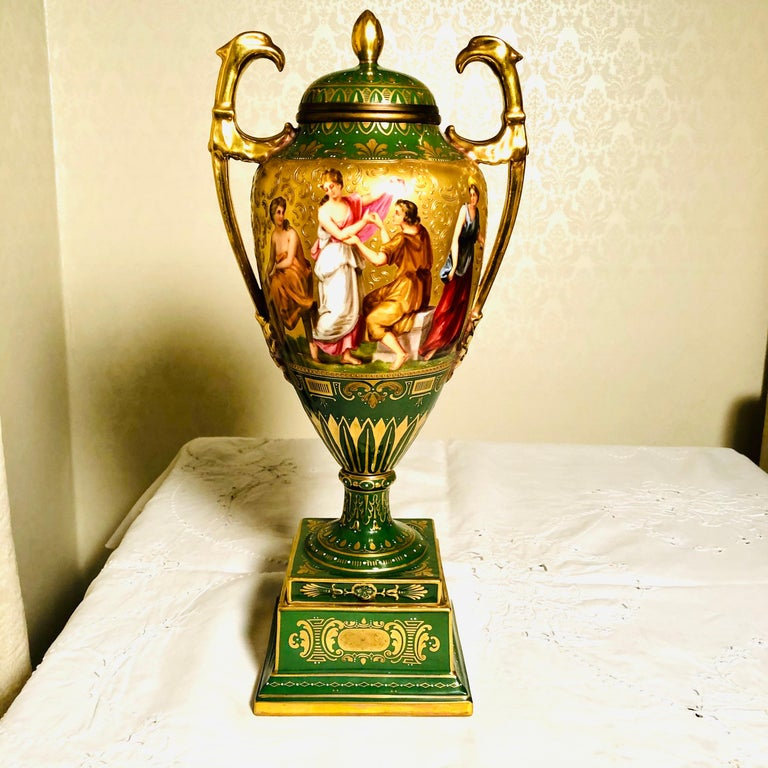 Royal Vienna Covered Urn Signed A. Heer with Exquisite Paintings on Both Sides For Sale 3