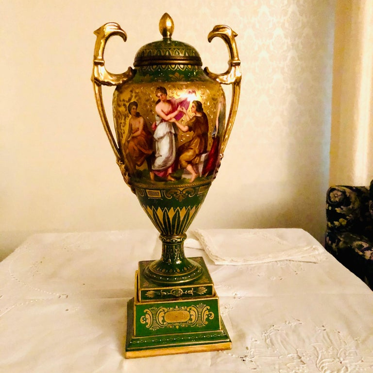 Royal Vienna Covered Urn Signed A. Heer with Exquisite Paintings on Both Sides For Sale 10