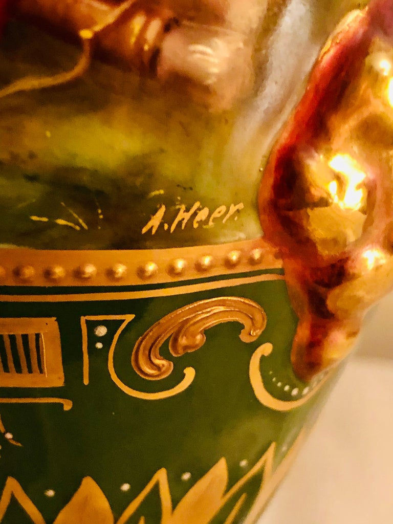 Royal Vienna Covered Urn Signed A. Heer with Exquisite Paintings on Both Sides For Sale 11