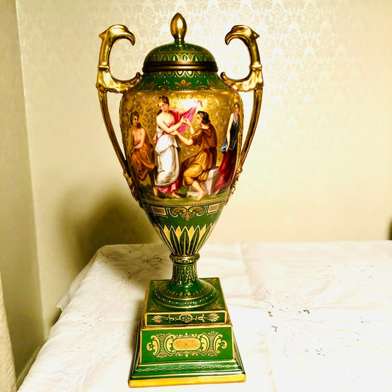 Rococo Royal Vienna Covered Urn Signed A. Heer with Exquisite Paintings on Both Sides For Sale