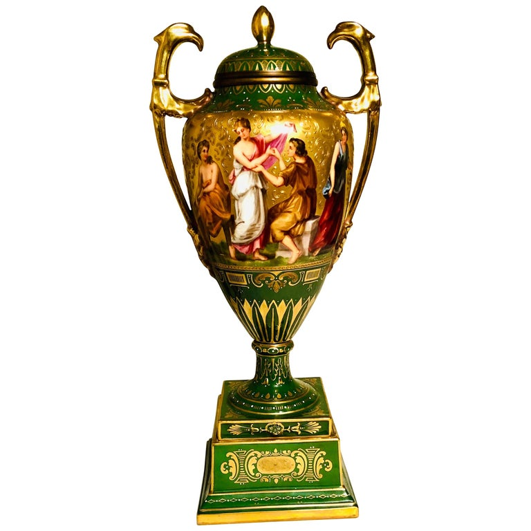 Royal Vienna Covered Urn Signed A. Heer with Exquisite Paintings on Both Sides For Sale