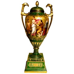 """""""Royal Vienna"""" Covered Urn Signed A. Heer with Exquisite Paintings on Both Sides"""