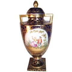 Handbemalte Urne von Royal Vienna mit Bienenkorb-Punze