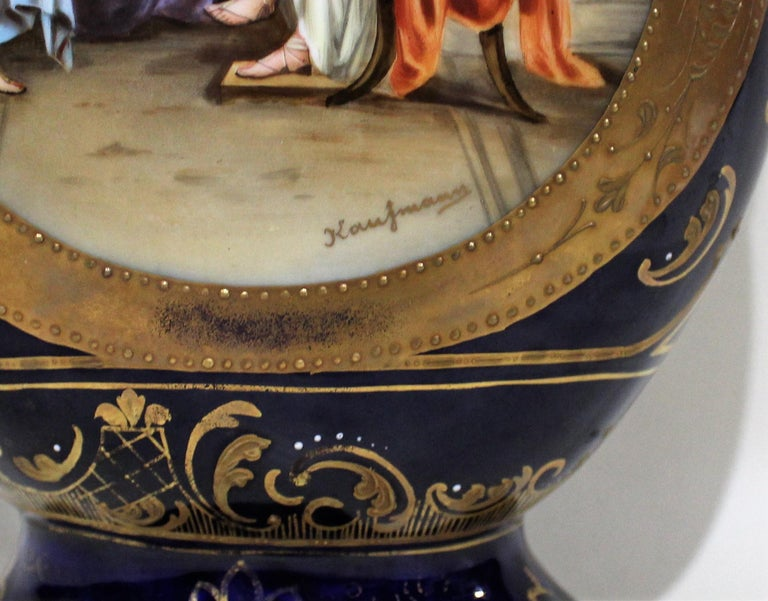 Hand painted Royal Vienna lidded vase/urn with beehive mark signed