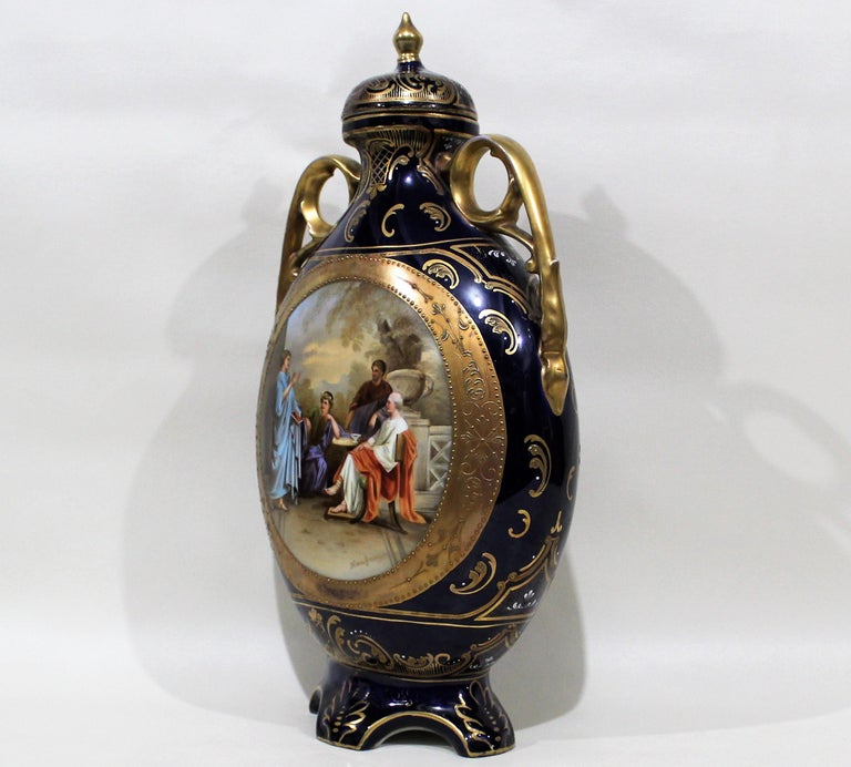 Royal Vienna Lidded Vase or Urn In Fair Condition For Sale In Hamilton, Ontario